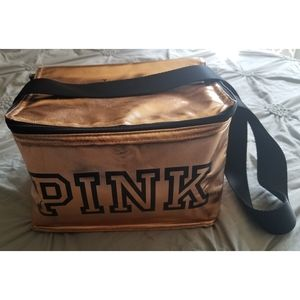 PINK Insulated Gold and Black Lunch Tote